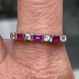 925 Sterling Silver Ruby Stacking Band Ring